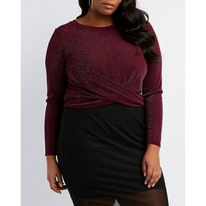 [Charlotte Russe] Purple Knotted Metallic Mesh Top